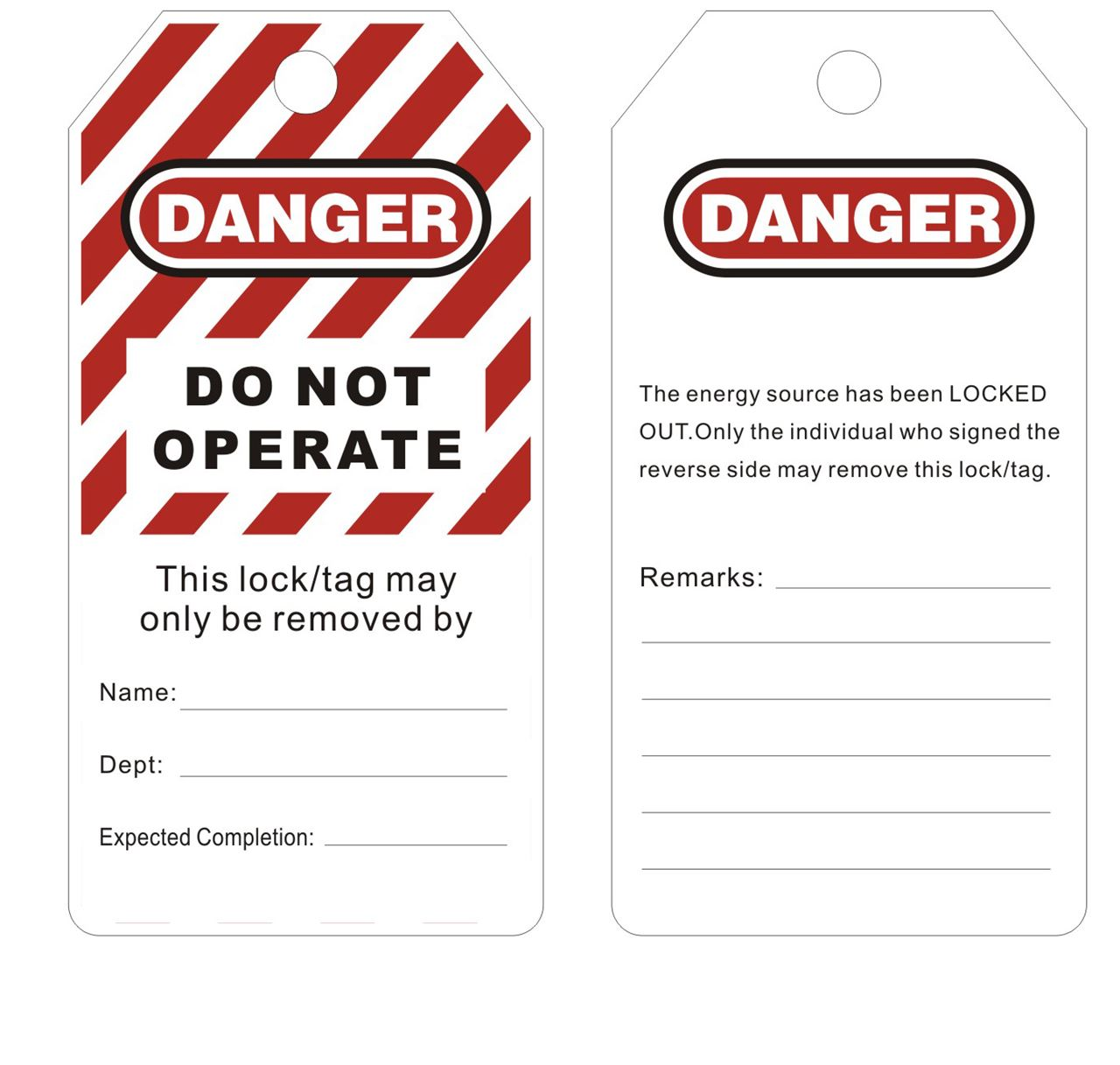 Picture of Safety Warning Tag - Do Not Operate
