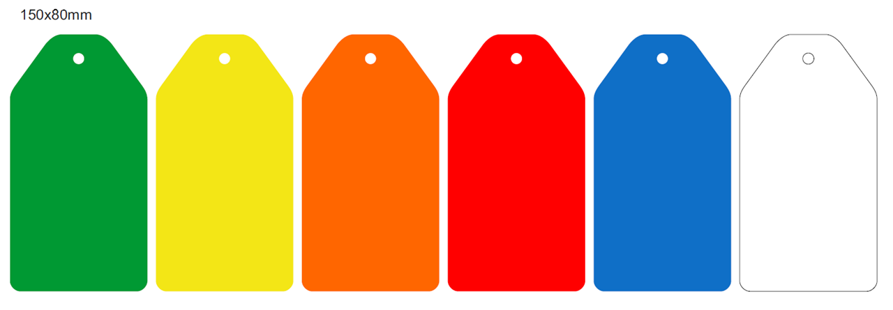 Picture of 150x80mm Colour-coded Blank Write-On Tags, with fixing hole