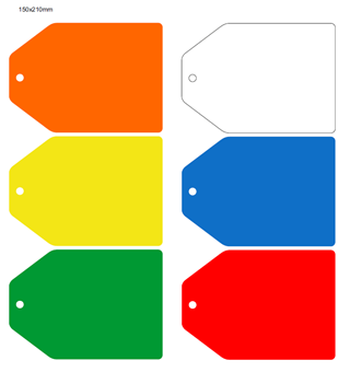 Picture of 210x150mm Colour-coded Blank Write-On Tags, with fixing hole