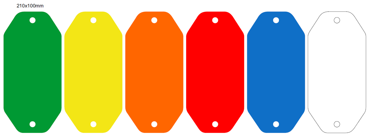 Picture of 210x100mm Colour-coded Blank Write-On Tags, with fixing hole
