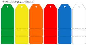Picture of 210x70mm Colour-coded Blank Write-On Tags, with perforated tabs