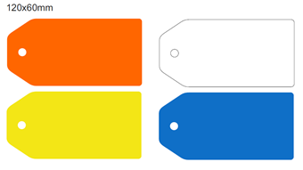 Picture of 120x60mm Colour-coded Blank Write-On Tags, with fixing hole