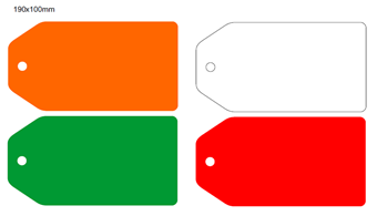 Picture of 190x100mm Colour-coded Blank Write-On Tags, with fixing hole