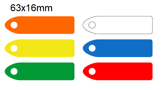 Picture of 63x16mm Blank Colour-coded Key Tags, with fixing hole