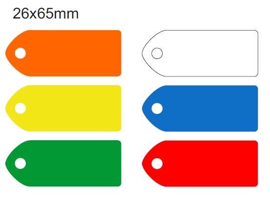 Picture of 65x26mm Blank Colour-coded Key Tags, with fixing hole