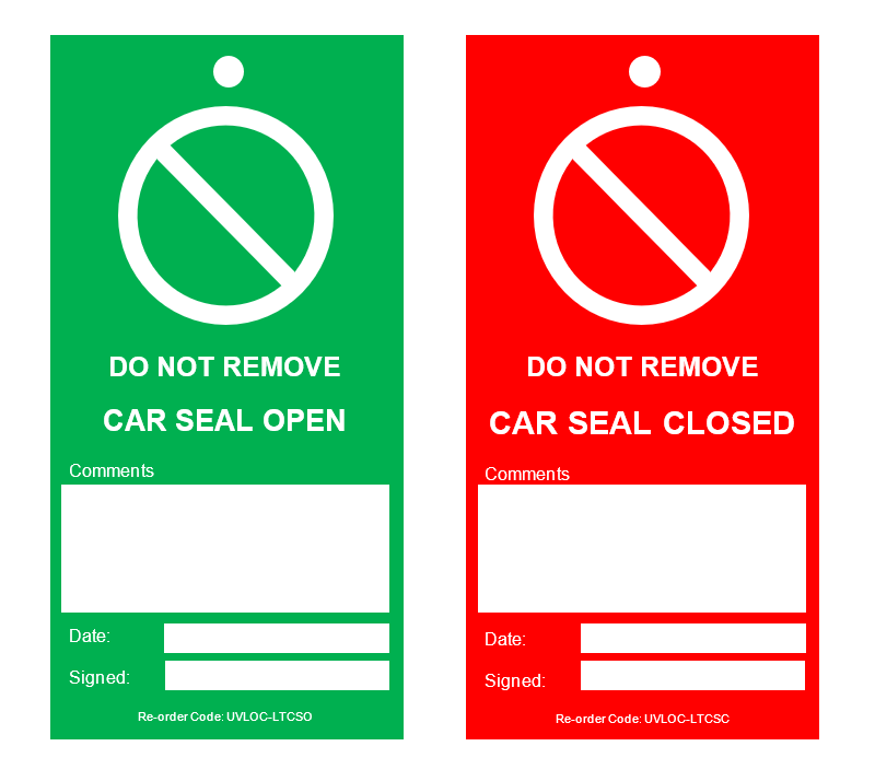 Picture of Write-On Car Seal Tags, Red/Green (Pack of 100)